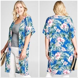 PLUS Blue Floral Kimono